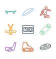 9 hockey icons vector image vector image