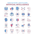 artificial intelligence icon dusky flat color vector image vector image