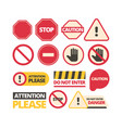 attention signs stop walking and route dont vector image