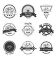 bicycle monochrome emblems collection vector image vector image