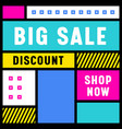 big sale banner with abstract geometric shapes on vector image vector image