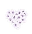 Blooming bouquet sakura blue flowers in shape vector image vector image