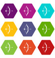 bow and arrow icon set color hexahedron vector image vector image
