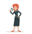 businesswoman character magnifying glass decision vector image