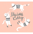 card with cute white cats and stylish lettering my vector image