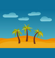 cartoon nature landscape with three palms vector image vector image
