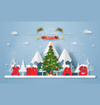 christmas tree with word xmas at mountain vector image vector image