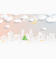 christmas village in paper cut style winter vector image vector image