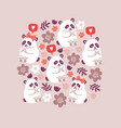 circle cute pandas couples in love vector image vector image