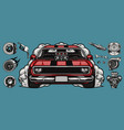 custom car parts colorful concept vector image