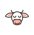 cute face cow animal cartoon icon vector image