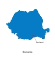 Detailed map of Romania and capital city Bucharest