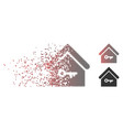 dissipated pixel halftone home key icon vector image vector image