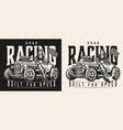 drag racing vintage monochrome label vector image