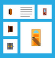 flat icon approach set of exit door entry and vector image
