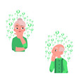 flat old elderly woman man thinking set vector image vector image