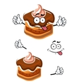 Funny cartoon chocolate cupcake character vector image