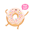 Funny donut character vector image vector image