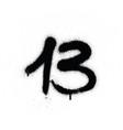graffiti sprayed number 13 thirteen in black vector image vector image