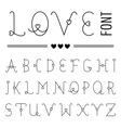 Hand drawn Love Font - Valentines Set with Hearts vector image