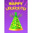 happy birthday greeting card festive cone hat vector image vector image