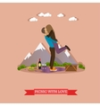 Happy couple having picnic in a park vector image vector image