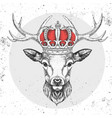 hipster animal deer in crown hand drawing muzzle vector image vector image