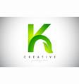 k leaf letter logo icon design in green colors vector image