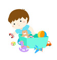 kid boy storing toys vector image