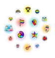 lgbt symbols icons set comics style vector image vector image