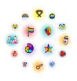 lgbt symbols icons set comics style vector image
