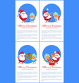merry christmas set of banners cheerful santa vector image vector image