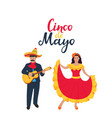 mexican musician in poncho and sombrero playing vector image vector image