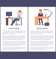 office work banners dreaming males sitting at work vector image vector image