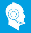 operator in headset icon white vector image vector image