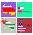 poster map of regions in the world flag print map vector image vector image