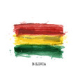 realistic watercolor painting flag bolivia vector image vector image