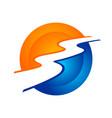 river stream modern circular symbol logo design vector image vector image