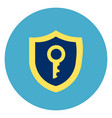 shield with key icon on round blue background vector image vector image