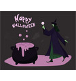 silhouette a witch who is cooking a potion in a vector image vector image