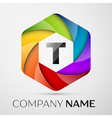 T Letter colorful logo in the hexagonal on grey vector image vector image
