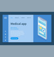 template for medicine care mobile application or vector image