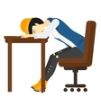 Woman sleeping on table vector image vector image