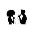 man woman singing silhouette set vector image