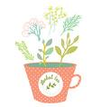 Herbal tea cup - retro style vector image