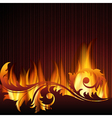 black background with flames vector image