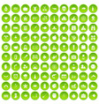 100 autumn holidays icons set green vector image vector image