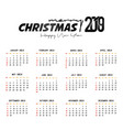 2019 calendar template christmas and happy new vector image vector image