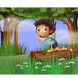 A boy above a trunk of a tree vector image