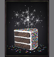 a piece birthday cake with sparklers vector image vector image